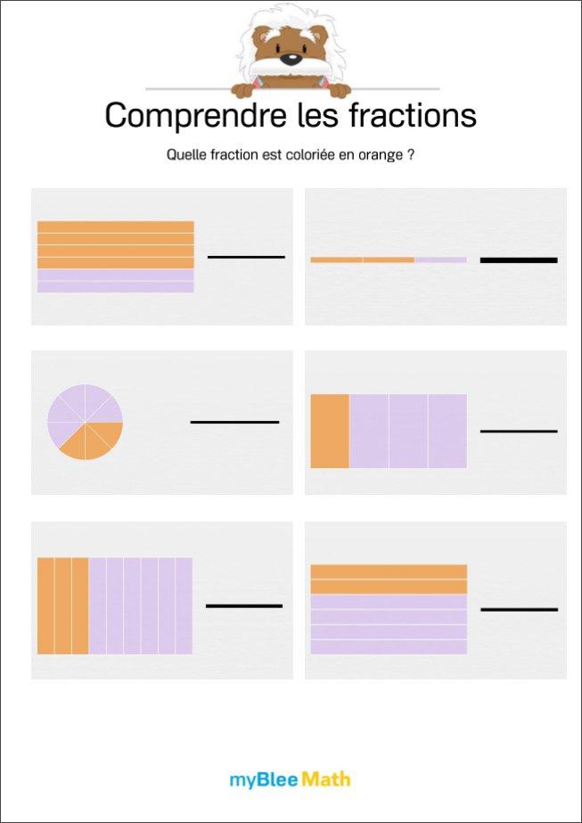 Comprendre Les Fractions 4 Quelle Fraction Est Coloriee En Orange Par Myblee Math Jenseigne Fr