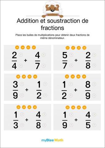 Image de Add./soust. de fractions 1 - Mettre les fractions au même dénominateur
