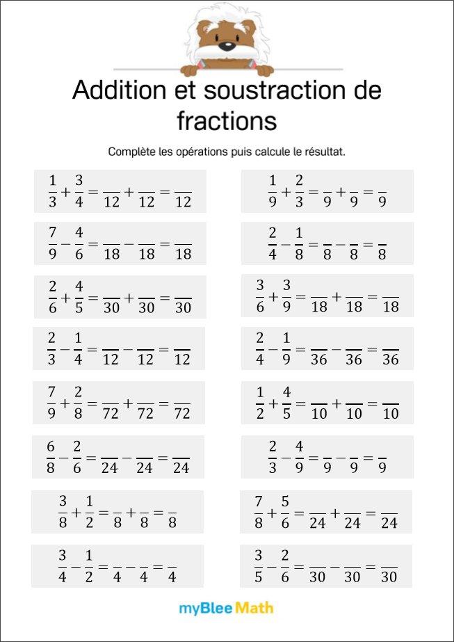 Addition et soustraction de fractions 4 - Compléter les ...