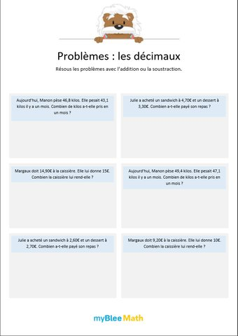 Image de Les décimaux 1 - Additions et soustraction de nombres décimaux (au dixième)