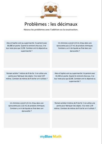 Image de Les décimaux 2 - Additions et soustractions de nombres décimaux (au centième)