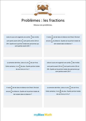 Image de Les fractions 1 - Additions de fractions avec dénominateurs identiques -6e