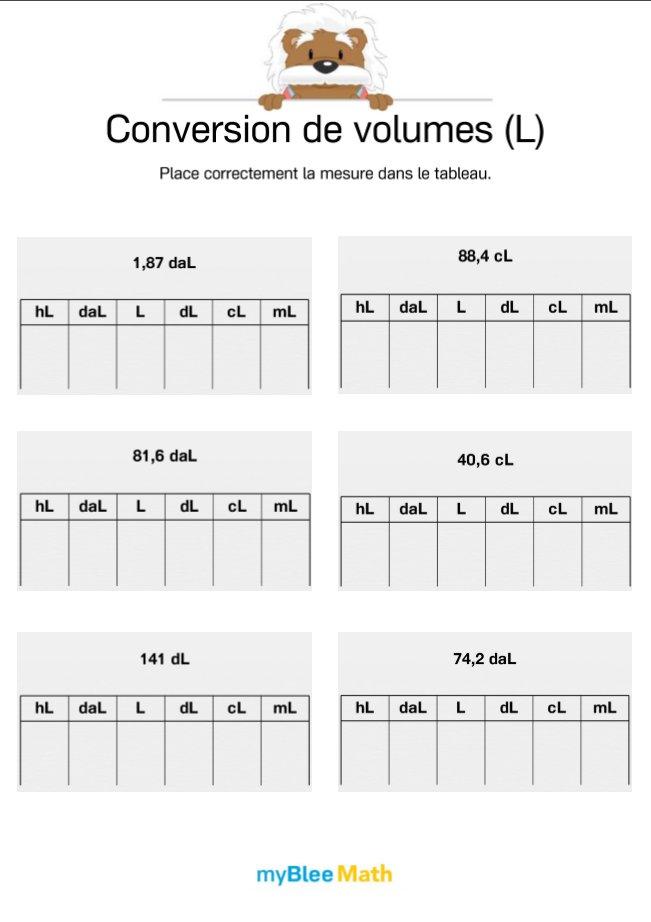 Conversion De Volumes 2 Placer Des Mesures Dans Un Tableau De Conversion Par Myblee Math Jenseigne Fr