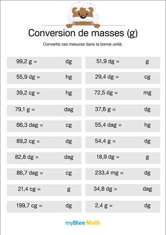 Image de Conversion de masses 5 -Convertir des mesures
