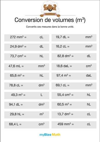 Image de Conversion de volumes (m³) 6 -Convertir des mesures du m³ au L ou inversement