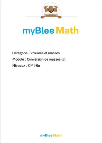 Image de Volumes et masses - Conversion de masses (g)