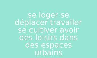 Image de se loger se déplacer travailer se cultiver avoir des loisirs dans des espaces urbains