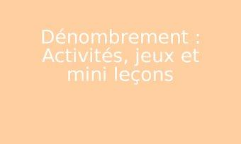 Image de Dénombrement : Activités, jeux et mini leçons
