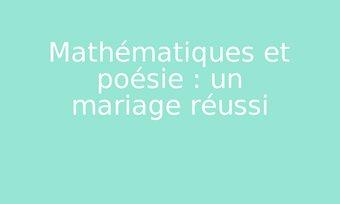 Image de Mathématiques et poésie : un mariage réussi