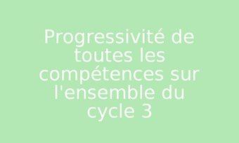 Image de Progressivité de toutes les compétences sur l'ensemble du cycle 3