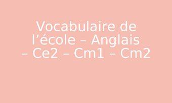 Image de Vocabulaire de l'école – Anglais – Ce2 – Cm1 – Cm2
