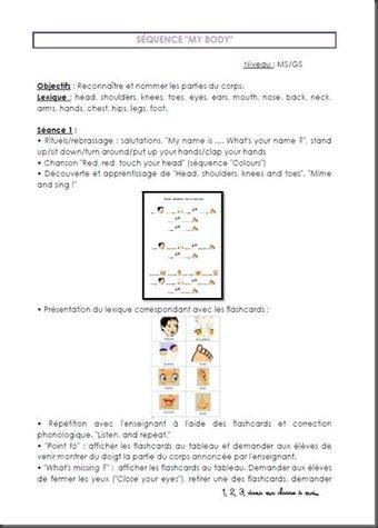 Image de Une sequence sur le corps en anglais