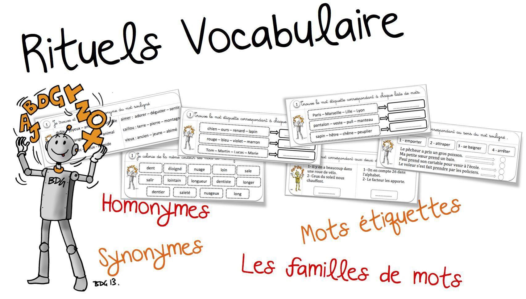 Rituels Vocabulaire Synonyme Homonyme Famille Et Mot Etiquettes