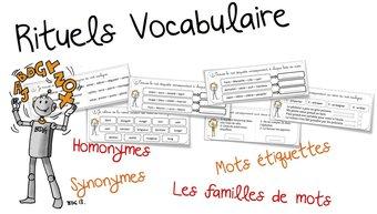 Image de Rituels vocabulaire : synonyme, homonyme , famille et mot-étiquettes
