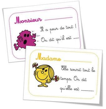 Image de Cartes devinettes : « les adjectifs Monsieur Madame »