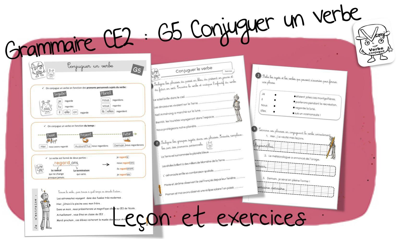 Reussir En Grammaire Au Ce2 G5 Conjuguer Un Verbe Par Bout De Gomme Jenseigne Fr