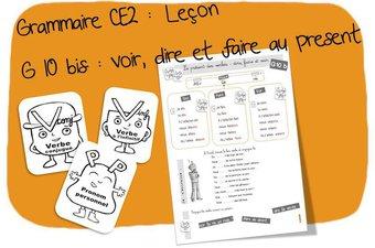 Image de G10 bis :Conjugaison CE2 dire, voir et faire au présent