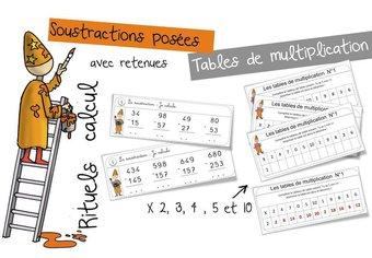 Image de Rituels : soustractions posées avec retenue et tables de multiplication