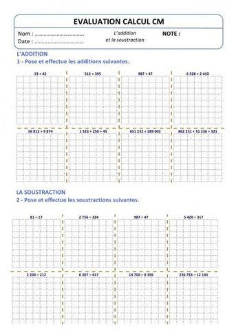 Image de Evaluation Calcul CM – Addition Soustraction