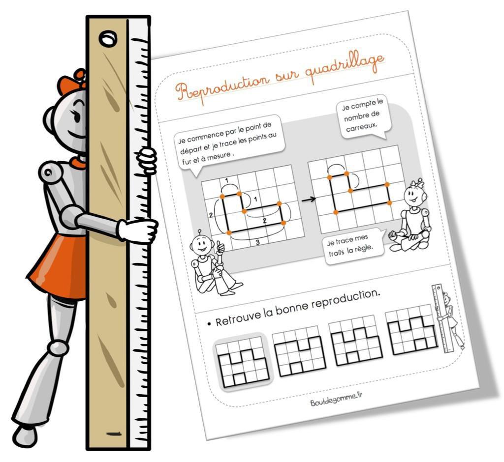 Leçon géométrie : la reproduction sur quadrillage par Bout de gomme - jenseigne.fr