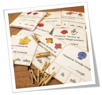 Image de Cartes à pince Pronoms Monsieur Madame CP et CE1