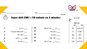 Image de Calcul mental CM1 et CM2 : programmation et générateur