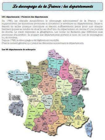 Image de départements, découpage administratif de la France-ce2