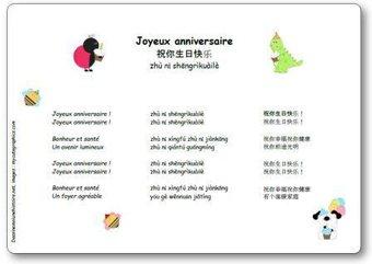 Image de « Joyeux Anniversaire » en chinois 祝你生日快乐