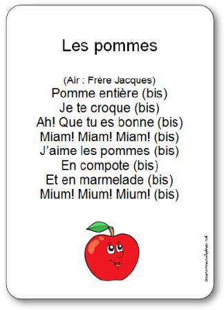 Image de Comptine « Les pommes » sur l'air de « Frère Jacques »