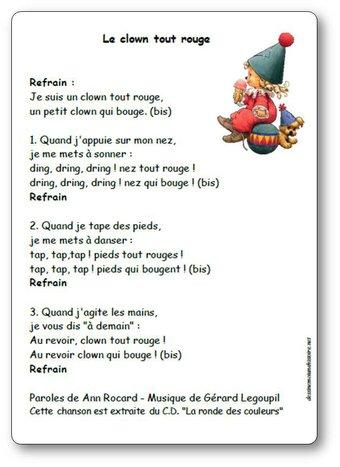 Image de « Le clown tout rouge », une chanson d'Ann Rocard et Gérard Legoupil