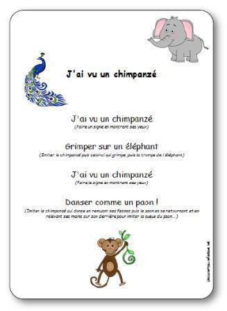 Image de Comptine à gestes « J'ai vu un chimpanzé »