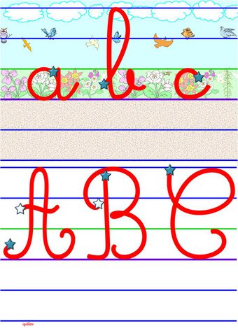 Image de Lettres alphabet minuscules et majuscules lignes Seyès