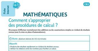 Image de Mathématiques : comment s'approprier des procédures de calcul ?