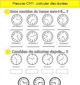 Image de Calculs de durées en CM1