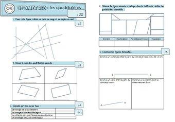 Image de Les quadrilatères : une évaluation et un exercice d'entraînement pour les CM1