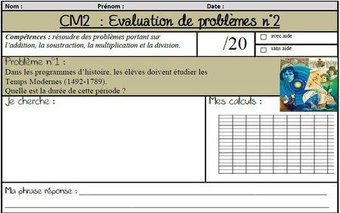 Image de Des évaluations de problèmes portant sur les 4 opérations (CM1 et CM2)