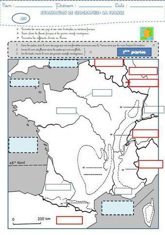 Image de Géographie : une évaluation sur la France (frontières, fleuves, reliefs et climats)