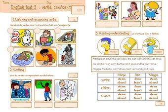 Image de Une évaluation d'anglais sur les verbes et les capacités