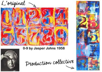 """Image de Atelier """"à la manière de"""" Jasper Johns : 0 à 9"""