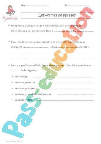 Image de Formes de phrases – Cm1 – Leçon