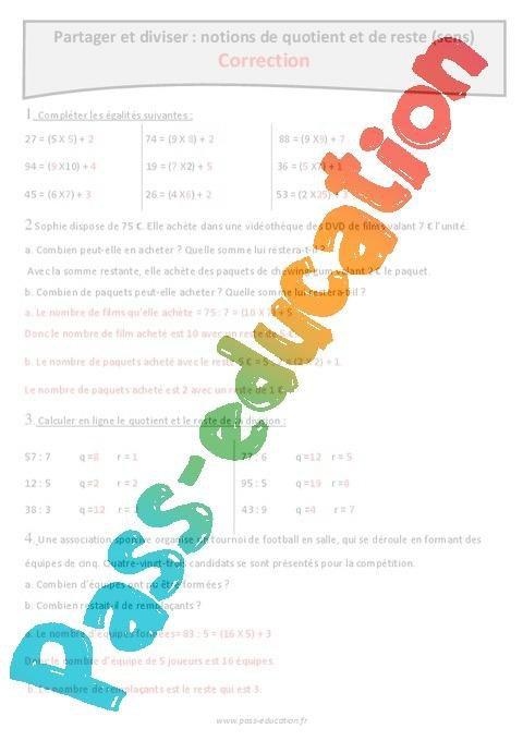 Quotient et reste - Partager et diviser - Sens de la division - Cm1 - Exercices à imprimer par ...