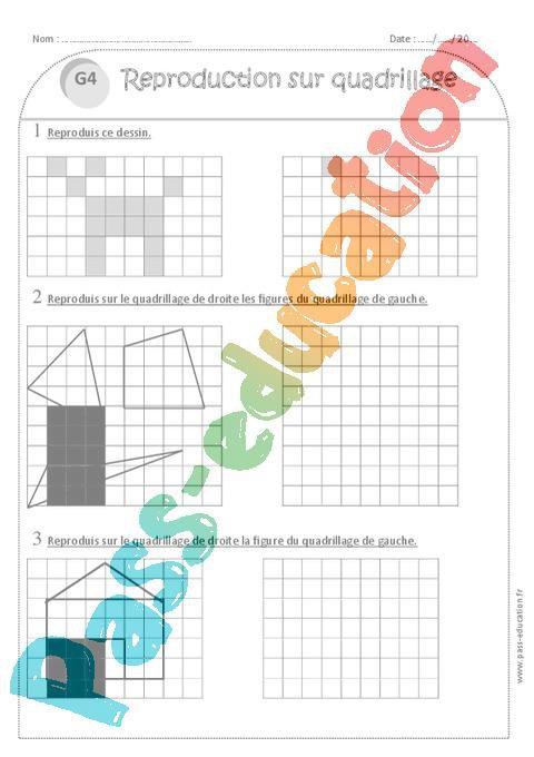 Reproduction Sur Quadrillage Ce1 Exercices à Imprimer