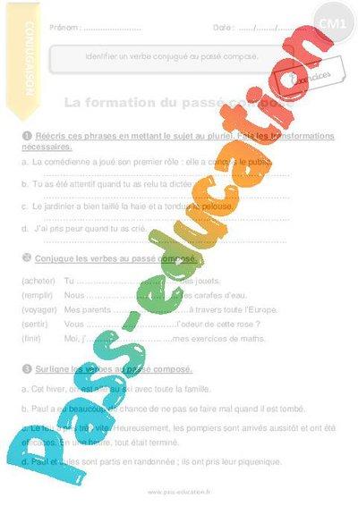 Passé composé - CM1 - Exercices à imprimer par Pass-education.fr - jenseigne.fr