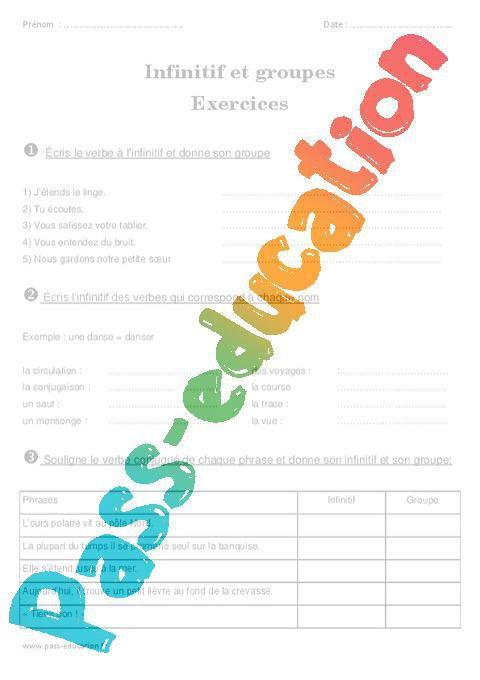 Infinitif Et Groupes De Verbes Ce2 Exercices A Imprimer Par Pass Education Fr Jenseigne Fr