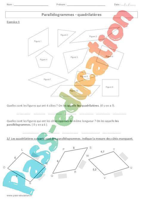 Parallélogrammes - Quadrilatères - Exercices corrigés ...
