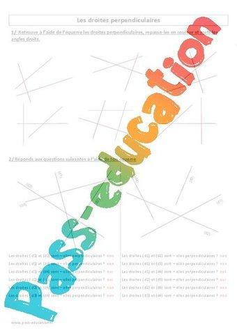 Droites perpendiculaires - Cm1 - Cm2 - Exercices corrigés - Géométrie - Cycle 3 par Pass ...