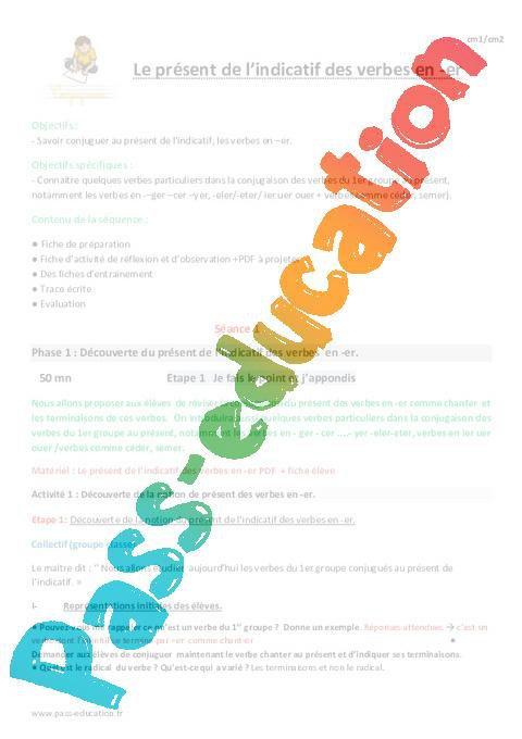 Present De L Indicatif Des Verbes En Er Cm1 Fiche De Preparation Par Pass Education Fr Jenseigne Fr