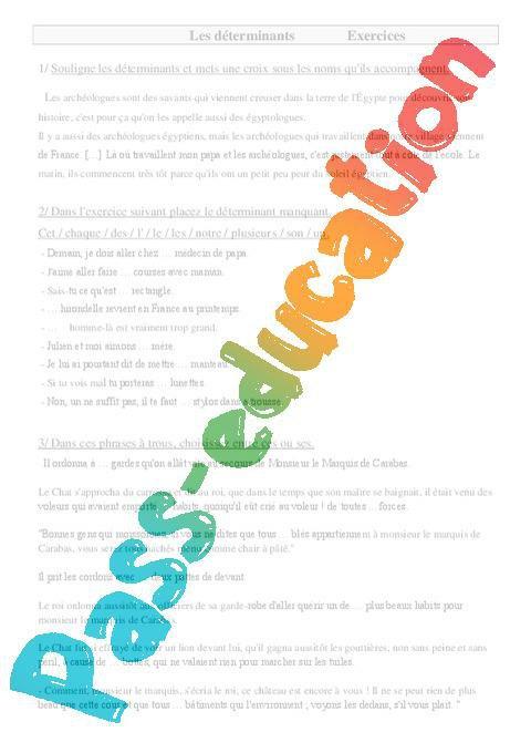 Determinants Cm1 Exercices Par Pass Education Fr Jenseigne Fr