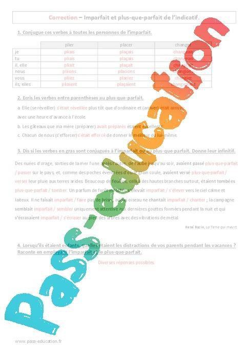Imparfait Plus Que Parfait 5eme Evaluation Par Pass Education Fr Jenseigne Fr