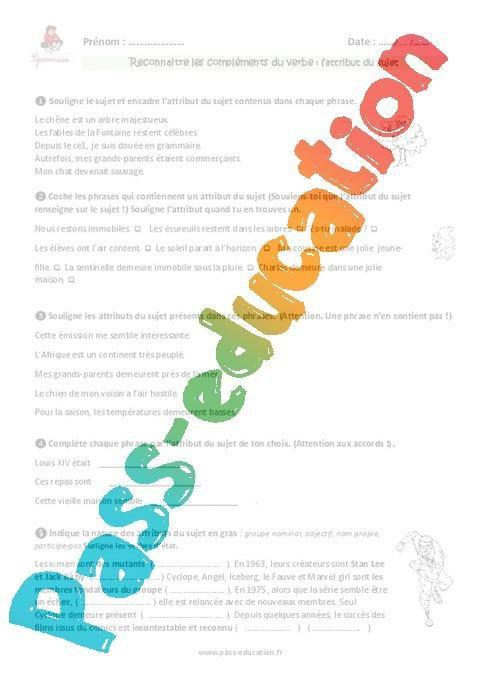 Attribut Du Sujet Cm1 Exercices A Imprimer Par Pass Education Fr Jenseigne Fr